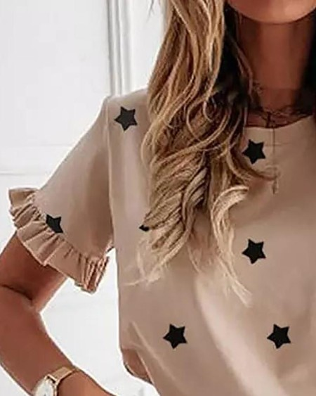 Star Print Frill Hem Short Sleeve T-shirt