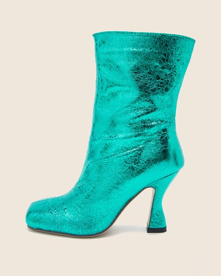 Square-toe Solid Color Sequin Heel Boots