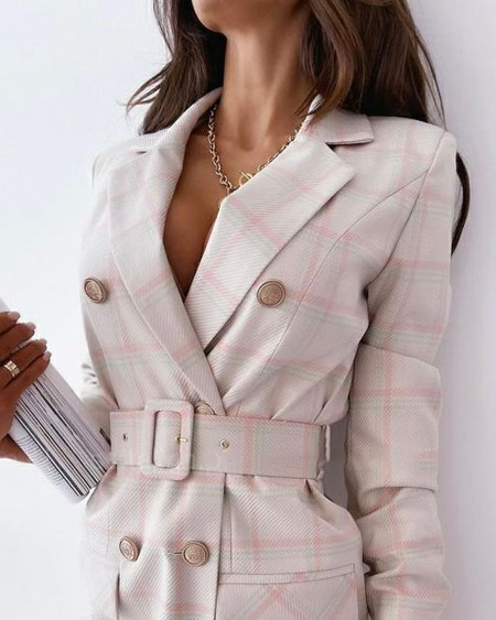 Plaid Print Double Breasted Blazer Dress With Belt