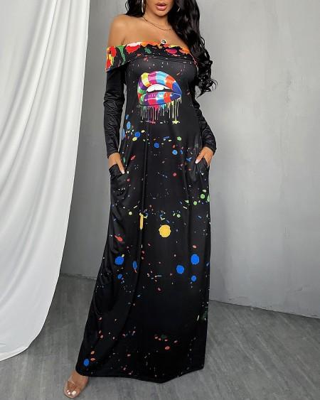 Lip Letter Print Ink Splash Off Shoulder Maxi Dress