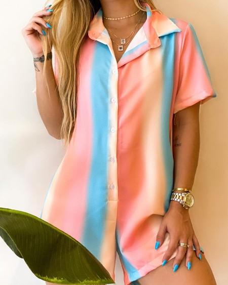 Multicolor Short Sleeve Button Front Romper