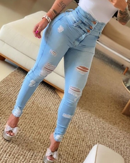 High Waist Button Ripped Skinny Jeans