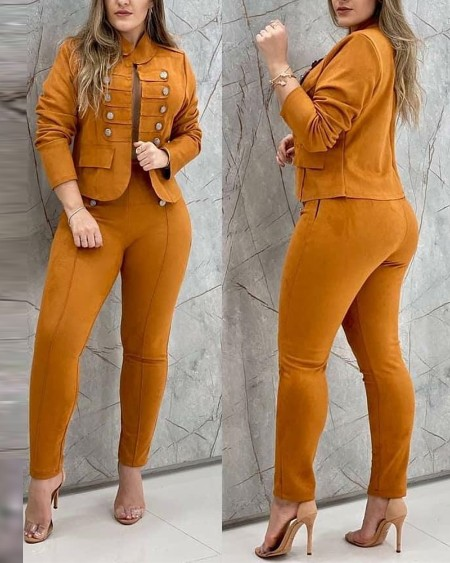 Solid Color Double Breasted Blazer & Pants Set
