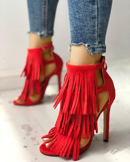 Fashion Solid Tassel High Heel Sandals