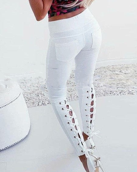 Solid Color Lace-up Skinny Jeans