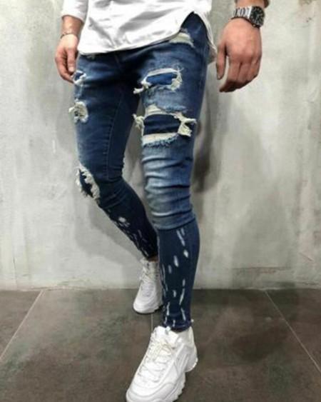 Skinny Ripped Patchwork Distressed Denim Jeans