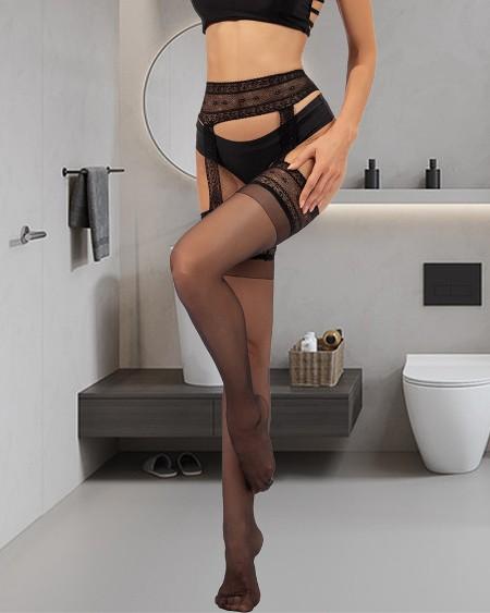 1Pair Sheer Mesh Lace Tights Suspender Pantyhose Stockings