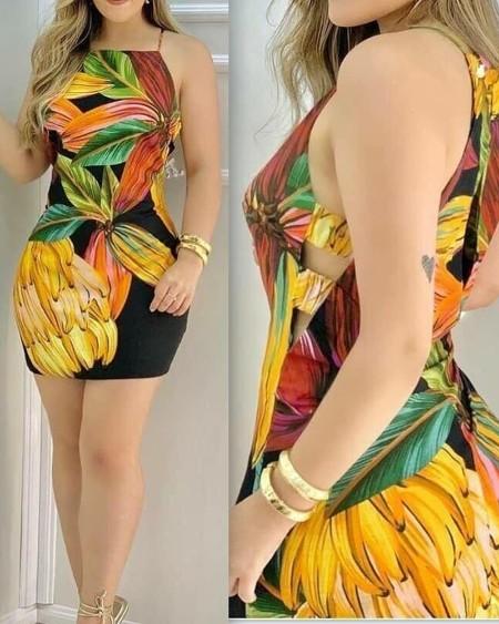 All Over Print Sleeveless Mini Dress