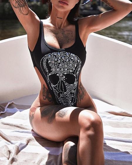 Skull Pattern Rhinestone Decor Skinny Bodysuit