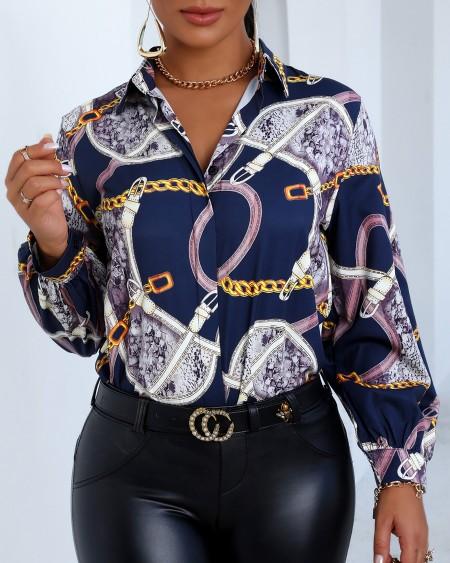 Scarf Print Buttoned Lantern Sleeve Shirt