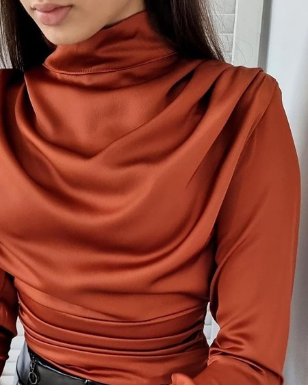 High Neck Ruched Long Sleeve Top