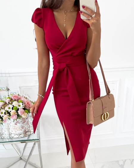V-neck Bubble Sleeve Tight Waist Dress