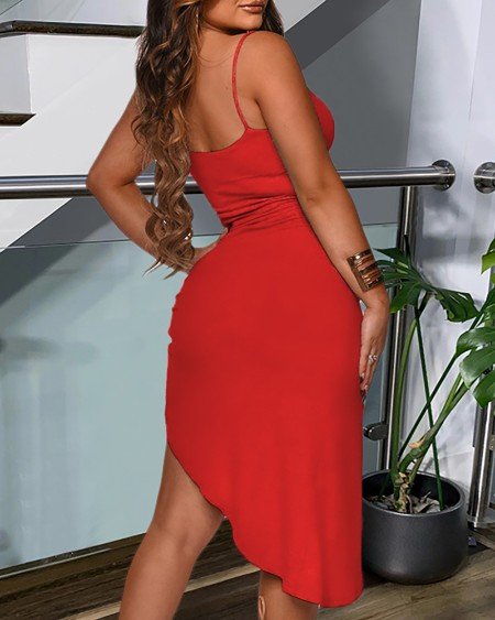 Plain Slit Cami Dress
