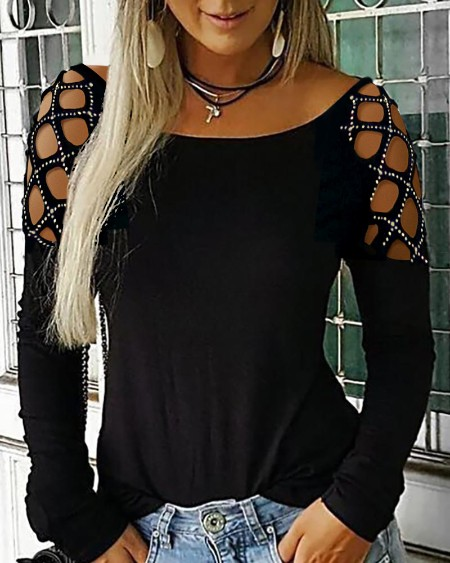 Women's Studded Cutout Long Sleeve Casual Top