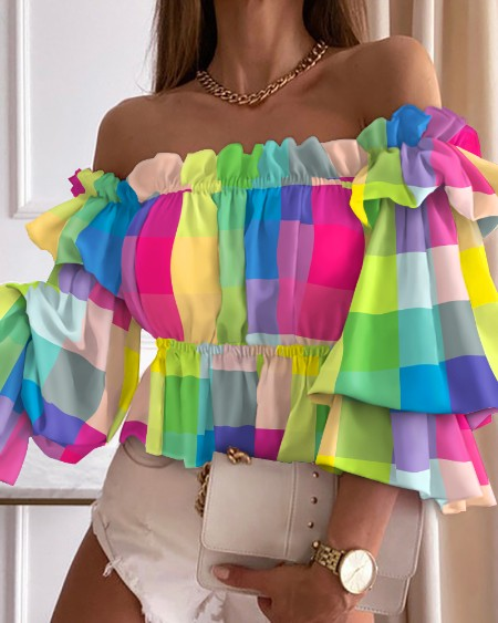 Colorful Plaid Off Shoulder Frill Hem Top Casual 3/4 Sleeve Blouse