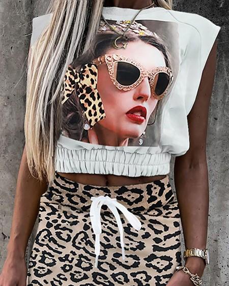 Figure Print Shirred Top & Cheetah Print Skirt Sets