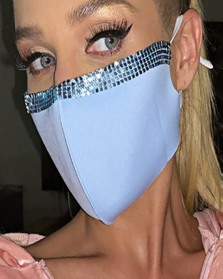 Bling Face Cloth Mask Reusable Rhinestone Decor Earloop Face Mask