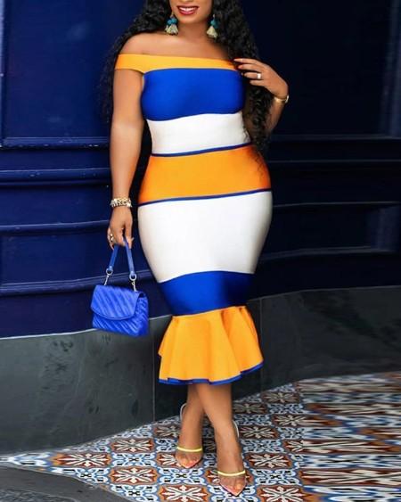 Plus Size Color Block Off Shoulder Skinny Mermaid Dress