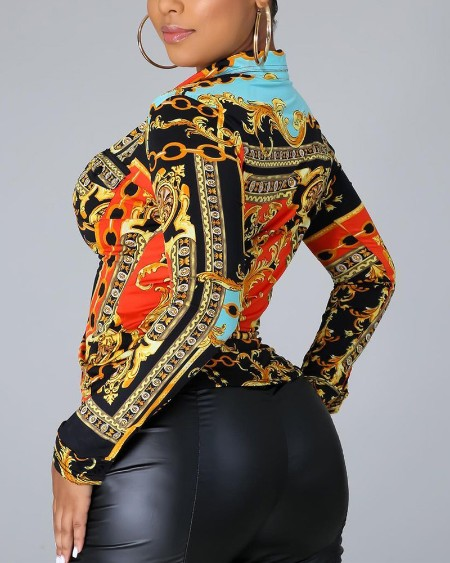 Baroque Print Long Sleeve Flap Detail Button Up Top