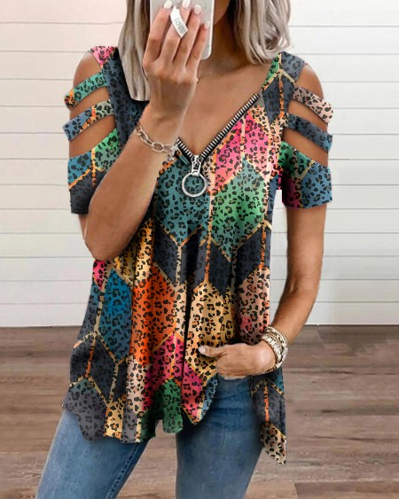 Printed Patchwork Leopard Blouse