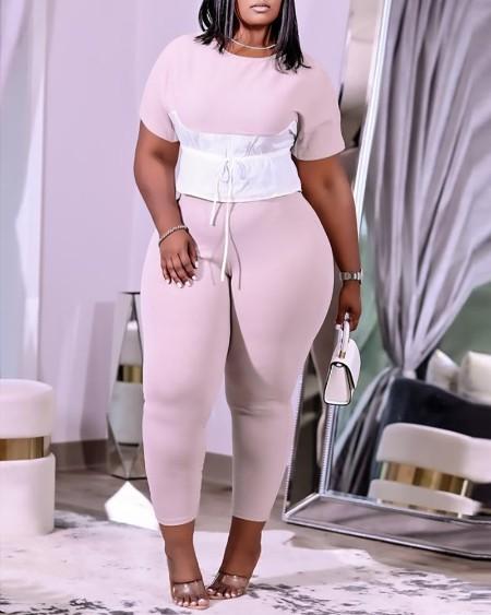 Plus Size Colorblock Tied Detail Top & Pants Set
