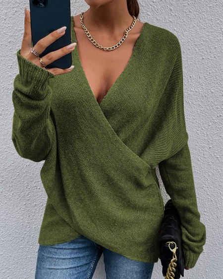 Wrap Front Long Sleeve V-Neck Sweater