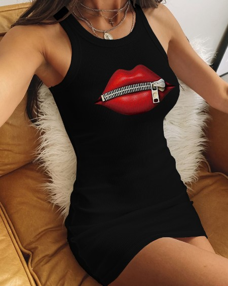 Zipper Lip Print Tank Bodycon Dress
