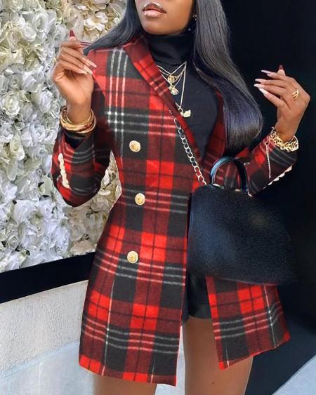 Plaid Pattern Colorblock Buttoned Longline Blazer Coat