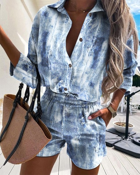 Distressed Button Design Casual Shirt & Shorts Set