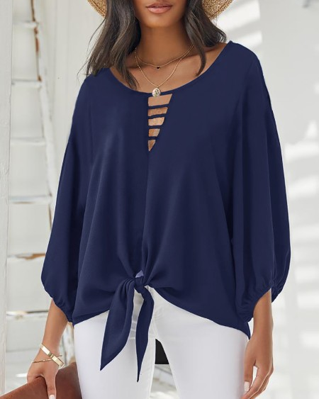 Lantern Sleeve Cutout Knotted Front Top