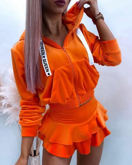 Solid Color Zip Up Velvet Hoodie & Ruffle Hem Skort Set