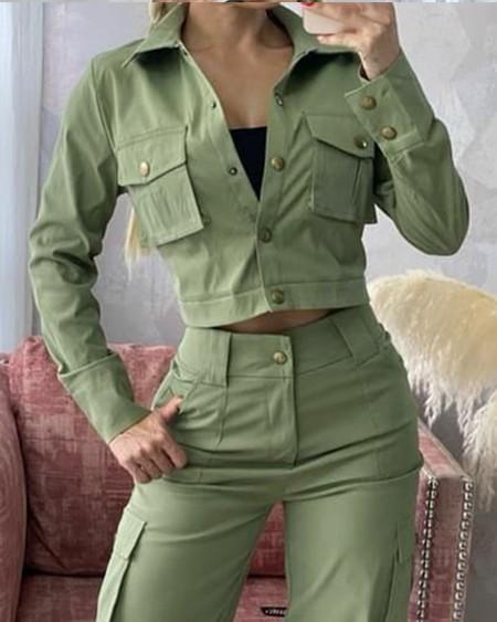 Long Sleeve Button Front Crop Coat & Pocket Cargo Pants Set