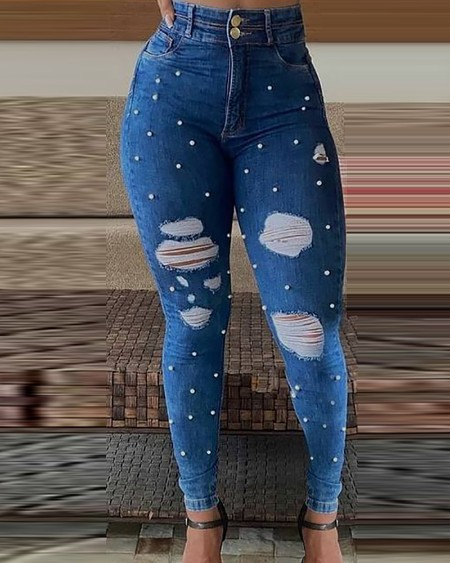 Beaded Ripped High Waist Skinny Denim Pants