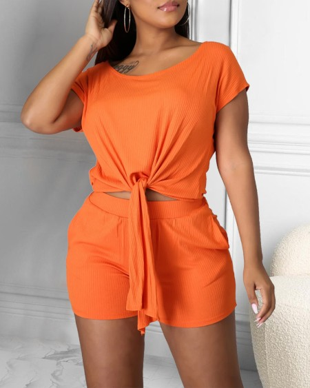 Solid Strappy Short Sleeve Cropped T-shirts With Shorts Suit Sets