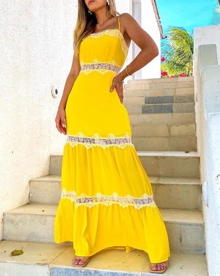 Eyelash Lace Patch Spaghetti Strap Maxi Dress
