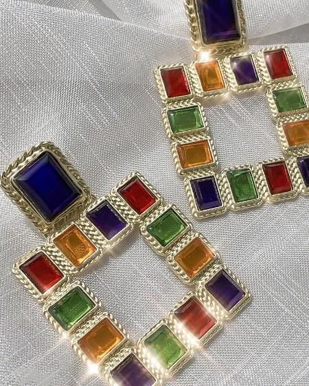 1Pair Colorful Square Rhinestone Geometric Drop Earring