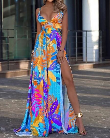 Palm Leaf Print High Slit Maxi Dress