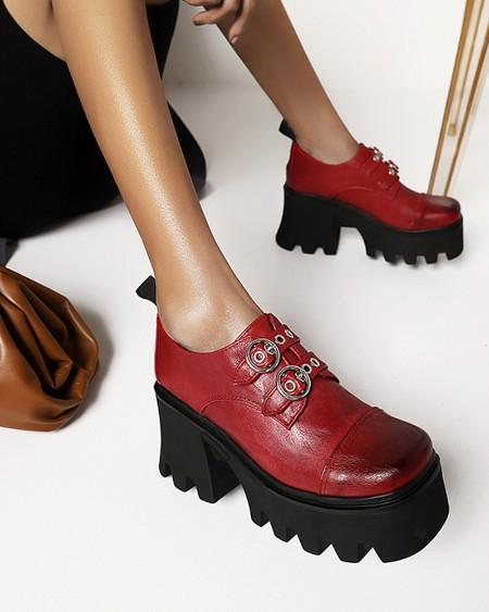 Ladies Vintage Double Strap Decor Round Toe Oxford Shoes