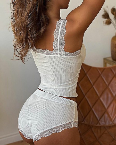 Contrast Lace Padded Cami Set