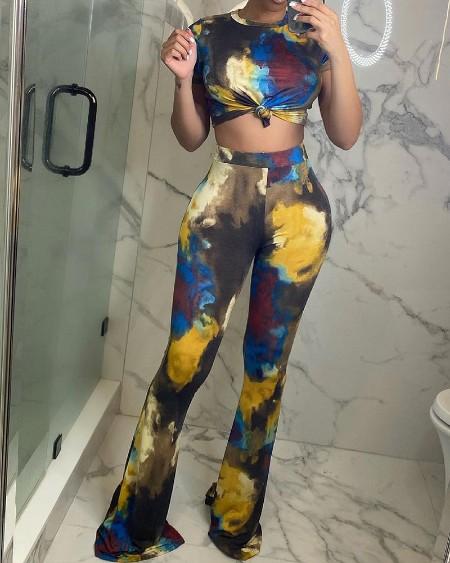 Tie Dye Print Knot Front Crop Top & Flared Leg Skinny Pants Set