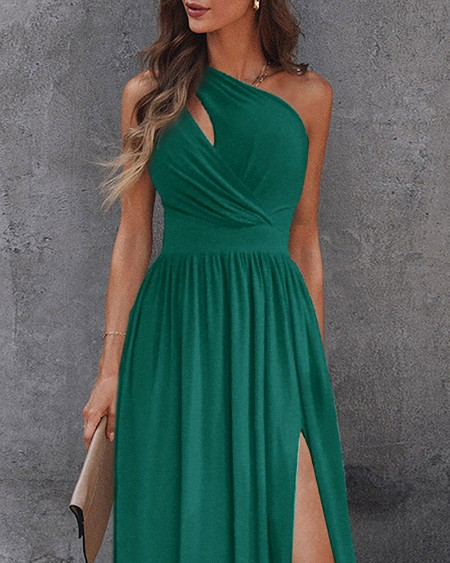 One Shoulder Cutout High Slit Maxi Dress