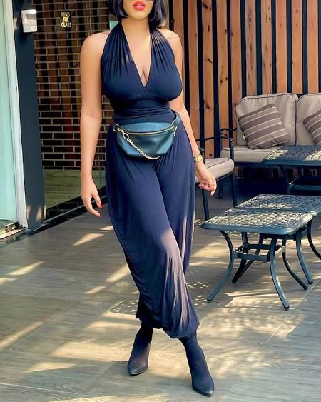Halter Sleeveless Plain Jumpsuit Without Waist Bag