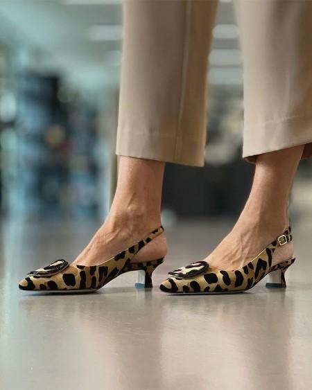 Leopard Pointed-toe High Heel Sandals Slip-on