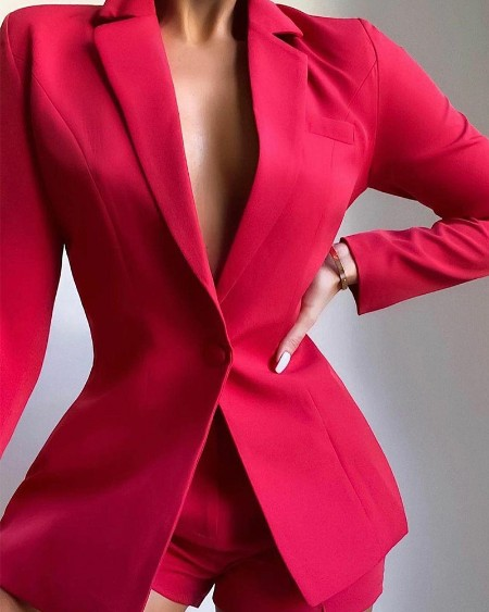 Solid Lapel Collar Single Button Tailored Blazer