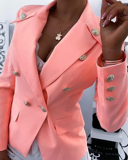 Button Decor Flap Detail Long Sleeve Blazer