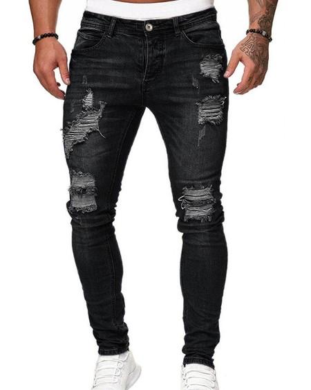 Hole Washing Slim Jean Pants