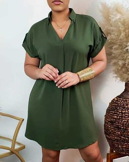 Plain Short Sleeve Casual Shirt Dress