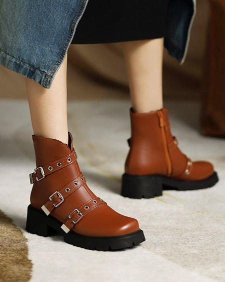 Womens Vintage Tr-straps Decor Round Toe Wax Finish Zipper Up Chelsea boots