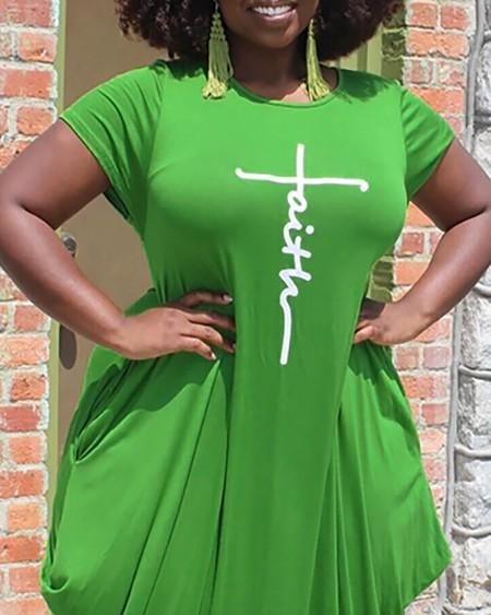 Plus Size Letter Print Short Sleeve Casual Dress