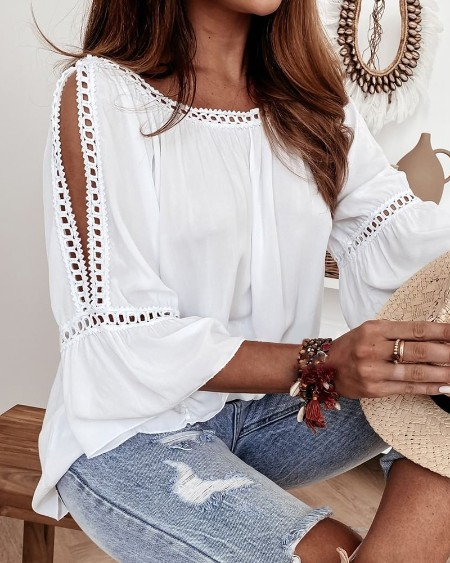Lace Patch Cutout Bell Sleeve Top